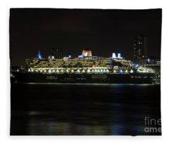 Queen Mary 2 At Night In Liverpool Fleece Blanket