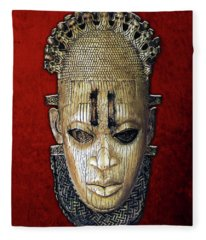Queen Mother Idia - Ivory Hip Pendant Mask - Nigeria - Edo Peoples - Court Of Benin On Red Velvet Fleece Blanket