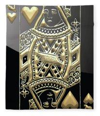 Queen Of Hearts In Gold On Black Fleece Blanket