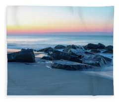 Quiet Beach Haven Morning Fleece Blanket