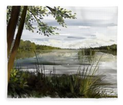 Quiet Day By Lake Fleece Blanket