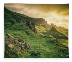 Quiraing Landscape 1 Fleece Blanket