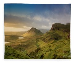 Quiraing Landscape 5 Fleece Blanket