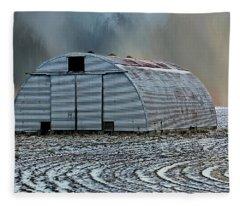 Quonset Hut Fleece Blanket