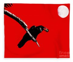 Quoth The Raven Nevermore . Red Fleece Blanket