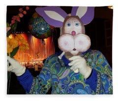 Rabbit With Bouquet Fleece Blanket