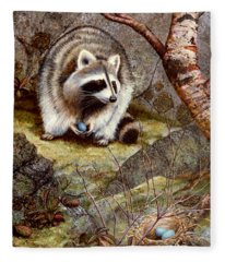 Raccoon Found Treasure  Fleece Blanket