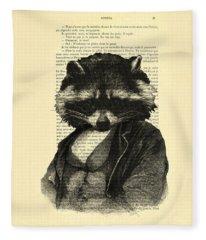 Raccoon Digital Art Fleece Blankets