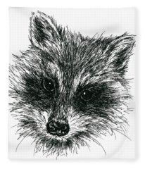 Raccoon Portrait In Ink Fleece Blanket
