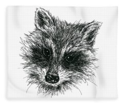 Raccoon Portrait In Ink Fleece Blanket