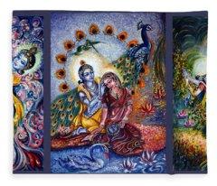 Radha Krishna Cosmic Leela Fleece Blanket