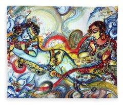 Radha Krishna - Flute - Love Fleece Blanket