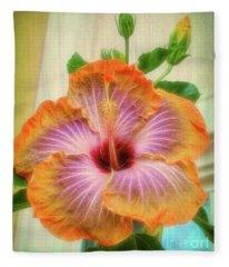 Radiant Hibiscus Fleece Blanket