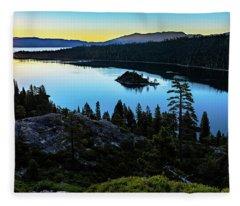 Radiant Sunrise On Emerald Bay Fleece Blanket