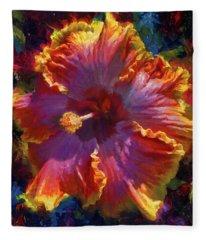 Rainbow Hibiscus Tropical Flower Wall Art Botanical Oil Painting Radiance  Fleece Blanket
