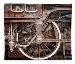 Rail Wheel Grunge Detail,  Steam Locomotive 06 Fleece Blanket