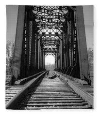 Railroad Bridge Black And White Fleece Blanket