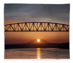 Railroad Bridge Framing The Bourne Bridge During A Sunrise Fleece Blanket