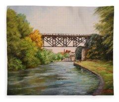 Railroad Bridge Over Erie Canal Fleece Blanket