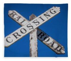 Railroad Crossing Wooden Sign Fleece Blanket