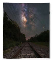 Railroad To The Stars  Fleece Blanket