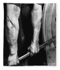 Railroad Worker Tightening Wheel Fleece Blanket