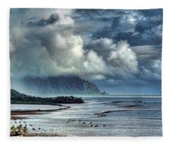Rain Clearing Kaneohe Bay Fleece Blanket