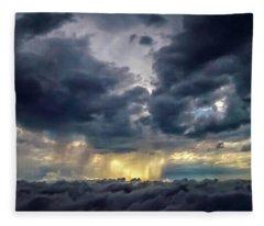 Rain Shafts From Thunderstorm 2011 Hdr Fleece Blanket