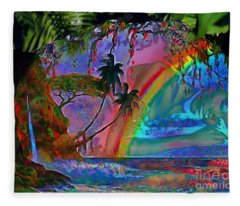 Rainboow Drenched In Layers Fleece Blanket