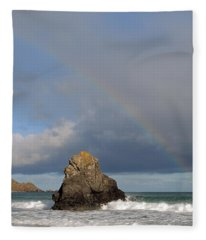 Rainbow Above Sango Bay Sea Stack Fleece Blanket
