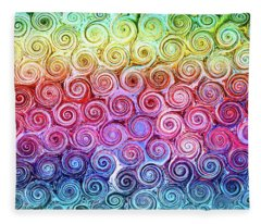 Rainbow Abstract Swirls Fleece Blanket