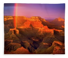 Rainbow At The Grand Canyon Fleece Blanket