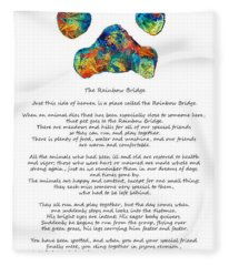 Rainbow Bridge Poem With Colorful Paw Print By Sharon Cummings Fleece Blanket