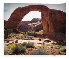 Rainbow Bridge - Watercolor - Glen Canyon National Recreation Area Fleece Blanket