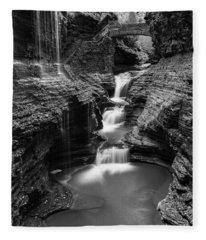 Rainbow Falls Gorge - Watkins Glen Fleece Blanket