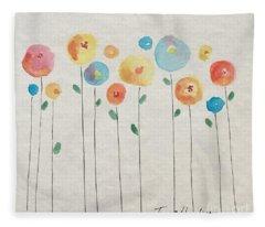 Rainbow Floral Fleece Blanket