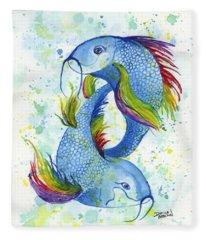 Rainbow Koi Fleece Blanket
