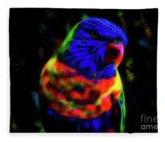 Rainbow Lorikeet - Fractal Fleece Blanket