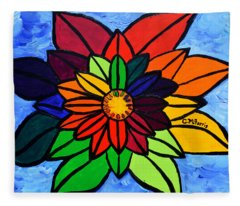 Rainbow Lotus Flower Fleece Blanket