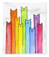 Rainbow Of Cats Fleece Blanket