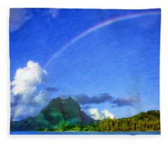 Rainbow Over Bora Bora Fleece Blanket