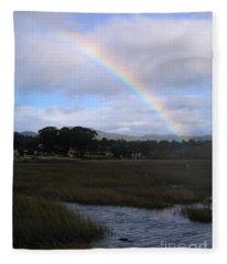 Rainbow Over Carmel Wetlands Fleece Blanket