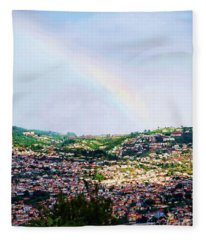Rainbow Over Funchal Fleece Blanket