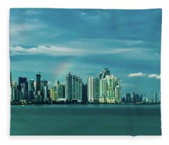 Rainbow Over Panama City Fleece Blanket