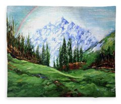 Rainbow Over The Snow Covered Mountain Fleece Blanket
