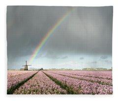 Rainbow Over Windmill And Flower Fields Fleece Blanket