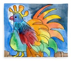 Rainbow Rooster Fleece Blanket