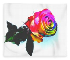 Rainbow Rose 2 Fleece Blanket