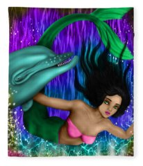 Rainbow Sea Mermaid - Fantasy Art Fleece Blanket