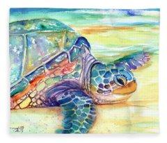 Rainbow Sea Turtle 2 Fleece Blanket